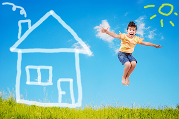 Home loan - girl jumping for joy.